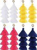 Hestya 4 Pairs Tassel Earrings Handmade 4 Layers Elegant Tassel Drop Earrings for Women Girls Accessories (White, Yellow,Dark Blue, Rose Pink)