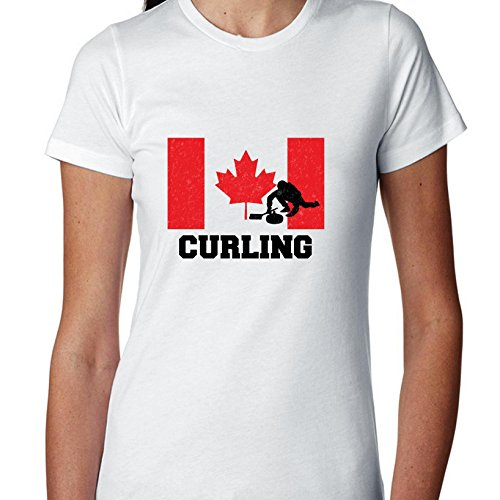 Hollywood Thread Canada Olympic - Curling - Flag - Silhouette Women's Cotton (Olympics Silhouette)