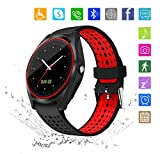 Kkcite Smart Watch Touch Screen Sweatproof Bluetooth Smartwatch Phone With SIM 2G GSM for Samsung Nexus6 Htc Sony and Android Smartphones Support Sleep Monitor, Push Message for Men Women (Red-black)