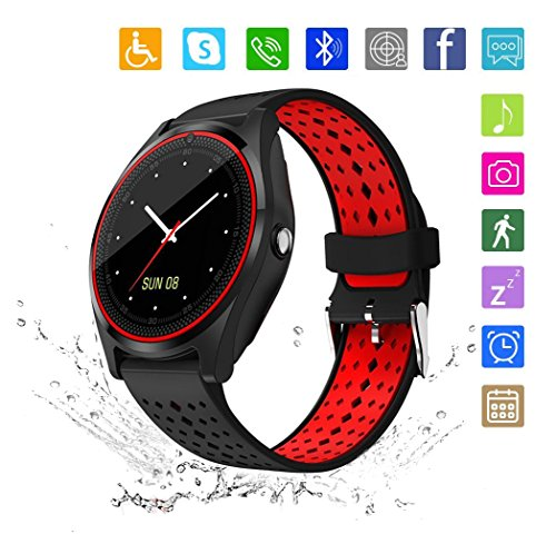 - Kkcite Smart Watch Touch Screen Sweatproof Bluetooth Smartwatch Phone with SIM 2G GSM for Samsung Nexus6 HTC Sony and Android Smartphones Support Sleep Monitor, Push Message for Men Women (Red-Black)