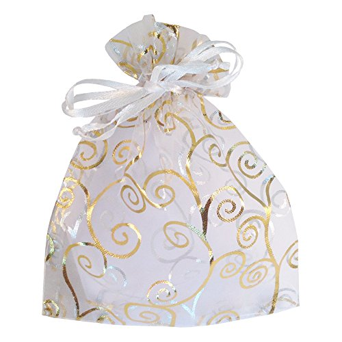 (White with Golden Print 6 By 4.5 Inches | Wedding Bags, Bridal Shower Bags, Christmas Bag, Goody Bags)
