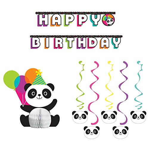 (Panda-Monium Party Decorations Supplies Pack Includes: Centerpiece, Jointed Banner, and Dizzy Danglers)