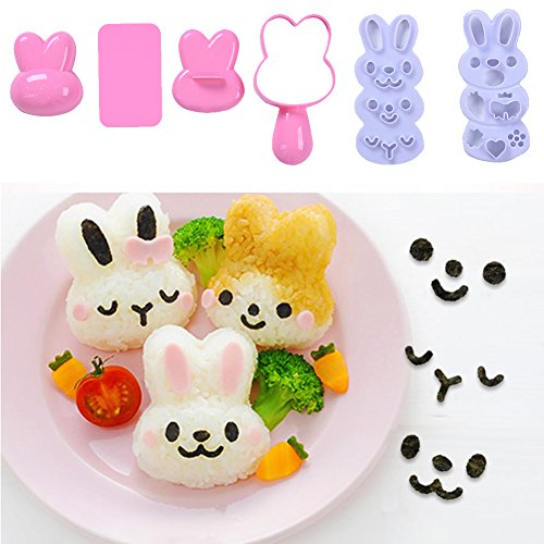 Small Rice Ball Mold Set Lovely Cartoon Pattern DIY Sushi Bento Nori Kitchen Rice Mould (Rabbit-shaped)