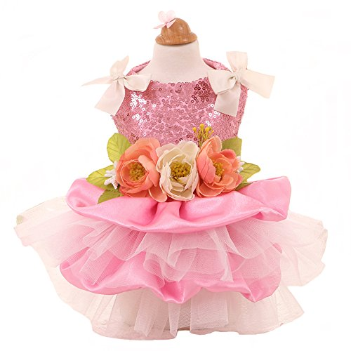 MaruPet Elegant Princess Lace Flower Fairym Dress Silky Tutu with Bowknit for Small, Extra Small DogTeddy, Pug, Chihuahua, Shih Tzu, Yorkshire Terriers Pink XL