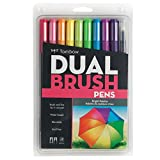 #8: Tombow Dual Brush Pen Art Markers, Bright, 10-Pack