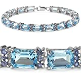24.00 Carat Genuine Blue Topaz & Tanzanite Silver Bracelet