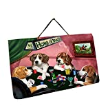 Home of Beagles 4 Dogs Playing Poker Photo Slate Hanging