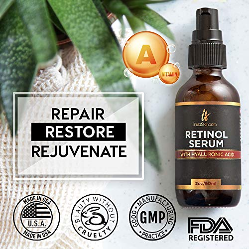 51m2DXD1qRL - Retinol serum for face (2oz) with Hyaluronic Acid + Vitamin A and E + Aloe Vera Anti aging moisturizer - Fade Dark Spots - Clinical Strength Formula