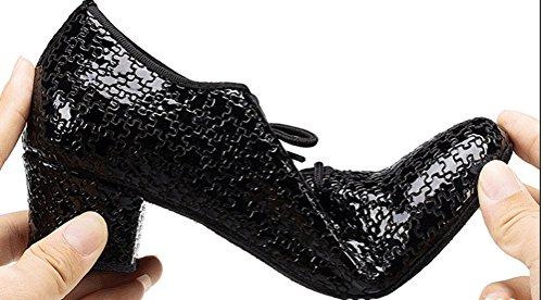 Abby Aq-7010 Damesoefening Sneaker Blokhak Ronde Neus Lederen Dansschoenen Zwart-b