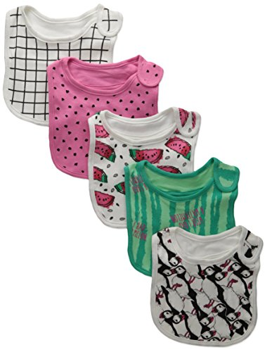 rosie-pope-baby-5-pack-watermelon-and-puffins-bibs-spring-bud-azalea-pink-tea-berry-peacock-green-on