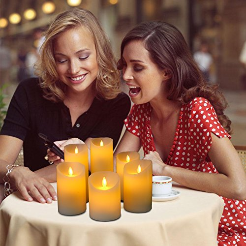 Flameless Candles Flickering Light Pillar Real Smooth Wax with Timer and 10-key Remote for Wedding,Votive,Yoga and Decorationset of 6 by ZTD (Image #7)