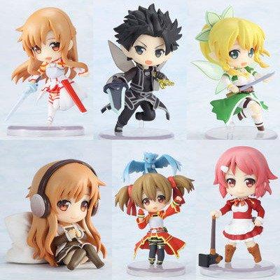 Huong Anime Figure 6 CM 6 pcs/set Sword Art Online Fairy Dance Kirito Asuna Lefa PVC Action Figures Toys Model Collectibles