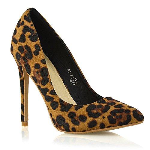 Essex Glam Womens Klassieke Mode Stiletto Puntschoen Hoge Hak Feestjurk Pompen Schoenen Leopard Faux Suede