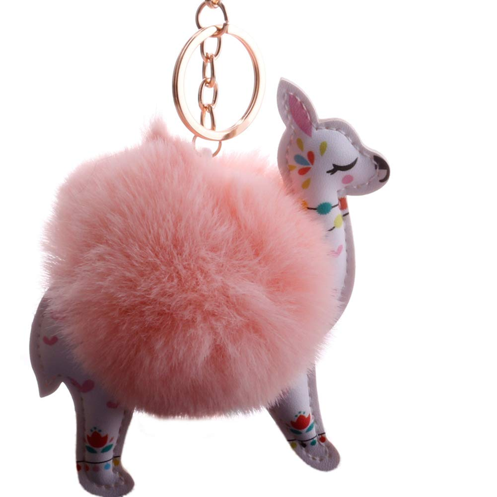 Slendima Lovely Sika Deer Fluffy Ball Keyring Car Key Chain Handbag Hanging Decor Gift Korean Pink