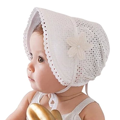 Little Baby Children Vintage Sun Hat Summer Cotton Bonnet with Flower Applique, White, 6-18 Months (Bonnet Baby)