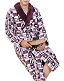 Spirio Men's Flannel Shawl Collar Thicken Robe Kimono Belted Nightgown Bathrobe 5 M