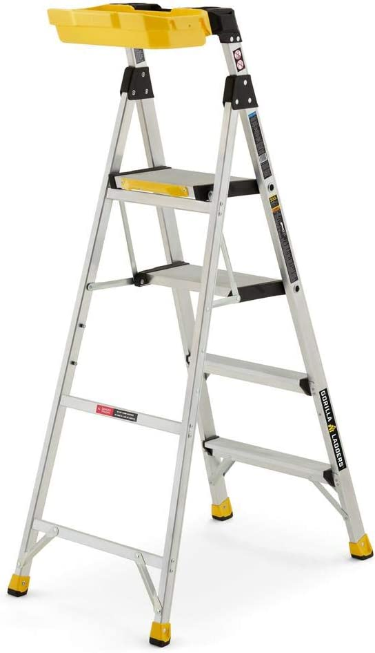 5.5 ft. Aluminum Dual Platform Heavy-Duty Hybrid Ladder (10 ft. Reach), 300 lbs. Capacity with Project Bucket