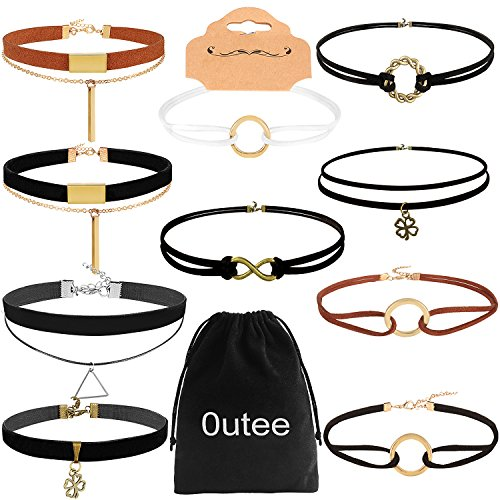 Outee Black Choker Necklace Velvet