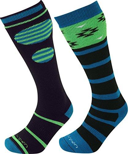 Lorpen Ski-Snowboard Merino Wool Socks (2 Pack), Green, Large