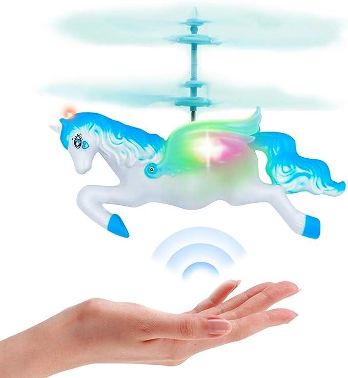 Imagen deForeverMagicToys Unicorn Toys Regalos para niñas de 6 años, RC Flying Fairy Toy Mini Control Remoto y muñeca de helicóptero Unicornio controlada a Mano para cumpleaños-Blue
