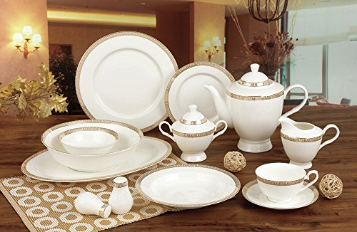 EURO Porcelain 57-Piece Large Dinner Banquet Set, 24K Gold-Plated Tableware Dinnerware, Luxury Bone China Service for 8 (Grecian Dessert)