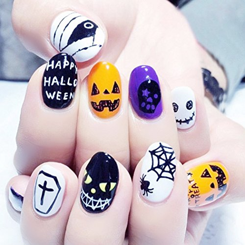 Yean Halloween False Nails 24Pcs/Set Yellow Black Pumkin Spider Web Fake Nails Full Cover Short Oval with Design Nail Tips Press on Nails with Glue and Adhesive Tab for Women (Halloween Nails Spider Web)