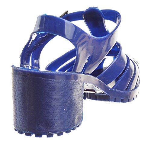 Sopily - Scarpe da Moda sandali Aperto alla caviglia donna lucide multi-briglia Tacco a blocco tacco alto 6.5 CM - Blu