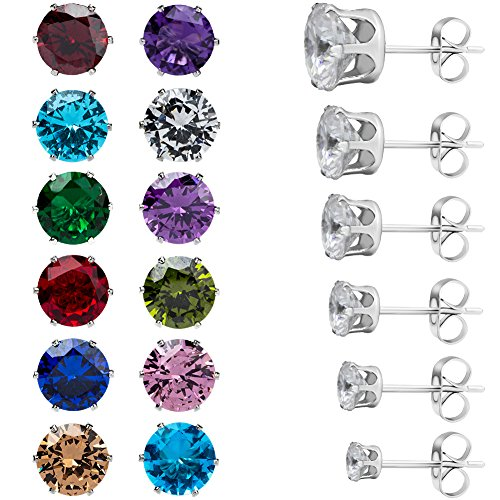 EXWEUP 6 Pairs Round Birthstone Clear Cubic Zirconia Stainless Steel Stud Earrings Perfect for Women and (3 Prong Round Stud Earrings)
