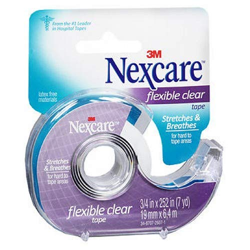 Flexible Clear Tape - Nexcare Flexible Clear First Aid Tape, 3/4 Inch x 7 Yards (Pack of 2)