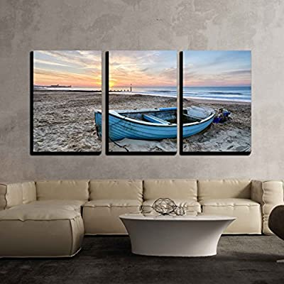 3 Piece Canvas Wall Art - Turquoise Blue Fishing Boat at Sunrise on Bournemouth Beach with Pier in Far Distance - Modern Home Art Stretched and Framed Ready to Hang - 16