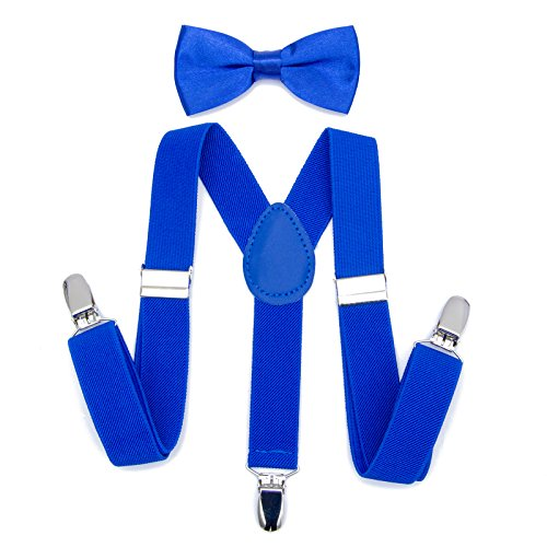 Suspenders Bow Tie Set Matching Kids Solid Color For 1~10Y 2.5cm High Quality