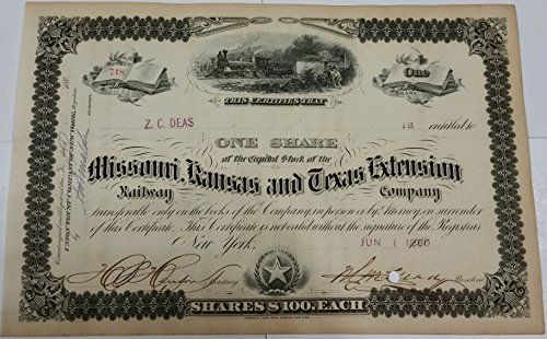 1880 VERY RARE MISSOURI KANSAS TEXAS EXTENSION RAILWAY STOCK w TRAIN