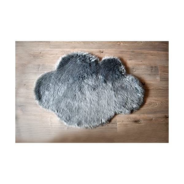Machine Washable Faux Sheepskin Grey Cloud Area Rug 32″ x 44″ – Soft and silky – Perfect for baby's room, nursery, playroom (2′ 7″ x 3′ 7″) – Grey Cloud