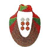 AMYNOVA Grass Green Red Handmade Beaded Necklace Nigerian Jewelry Set Bridal Wedding Jewelry Africa