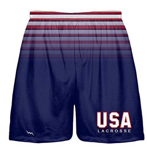 Youth USA Lacrosse Shorts - Red White Blue Lax Shorts Youth Small, Blue