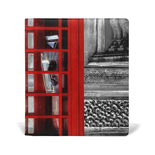 Telephone Booth Stretchable Genuine Leather Book Covers Standard Size for Student Hardcover Textbooks Fits up to 9x11-Inch for School Girls Boys DIY Gift by FeiHuang