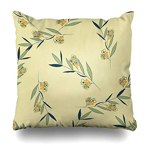 Ahawoso Throw Pillow Cover Style Bouquet Floral Pattern Branch Flowers Deep Drawing Green Color Curl Curve Design Graphic Decorative Sofa Cushion Case 18