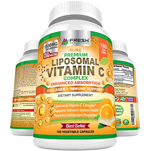 Fresh Healthcare Liposomal Vitamin C 1500mg, 180 Vegan Capsules – Immune Health Support, High Absorption & Bioavailability, Fat Soluble VIT C, Collagen Booster, Non-GMO, 180 Capsule Powder Supplement