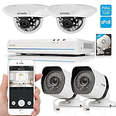 Zmodo Smart PoE Security System -- 8 Channel NVR & 2 x 720p Outdoor Bullet and 2 x Indoor Dome Cameras and 1TB Hard Drive