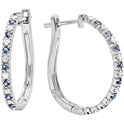 14K Gold Round Blue Sapphire & White Diamond Ladies Hoop Earrings