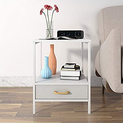 Lifewit Small Nightstand Bedside Table End Table with Fabric Drawer for Bedroom, Side Table Sofa Table, Modern Design, Sturdy and Durable, White - WHITE ELEGANCE: White wood for a modern-time design with white carbon steel frame, they now come together on this end table to bring a delicate touch of the modern time to your home. EASY ASSEMBLY: You can assemble it easily by yourself. FABRIC DRAWER: The night table features one foldable drawers to store your belongings and keep your table top clutter-free. - living-room-furniture, living-room, end-tables - 51m2I5cQL5L. SS400  -
