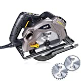"Circular Saw TECCPO 7-1/4"" 5500 RPM Saw with Laser Guide, 2 Circular Saw Blades -TACS01P"