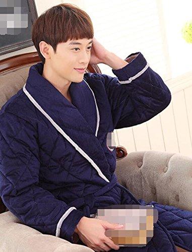ZC&J Parejas más de terciopelo grueso pijamas de algodón de algodón de algodón de franela cómoda camisón de albornoz de larga sección de la casa de moda ropa suelta,Men blue,L Men blue