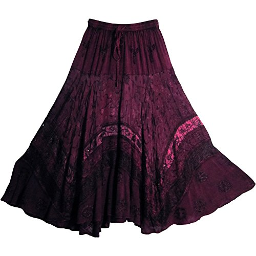 Indian Tiered Stonewashed Embroidered Gypsy Long Maxi Skirt Renaissance #3 (Plum)