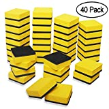 40 Pack Magnetic Whiteboard Dry Eraser Dry Erase Erasers Bulk Chalkboard Eraser Cleaner for Classroom, Office (2 x 2 inch, Yellow)