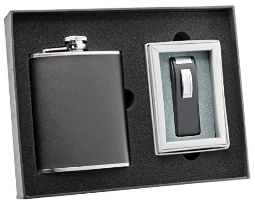 - Visol Ano Black Leather Flask and Dark Knight Black Matte Torch Flame Lighter Set