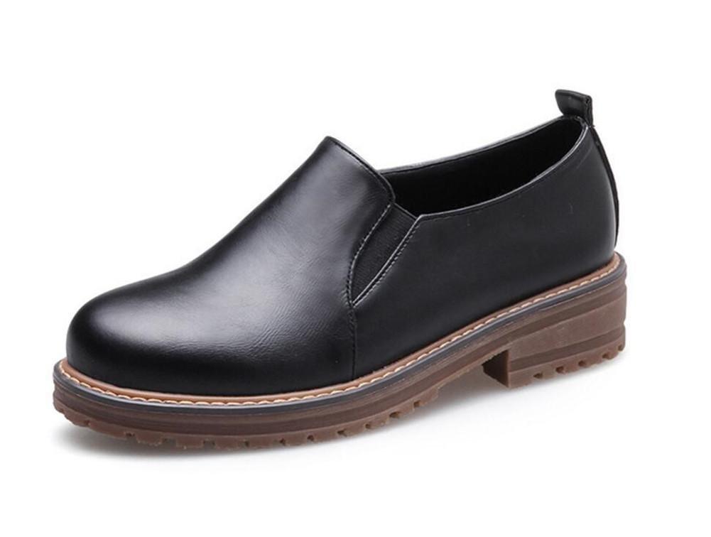XIE Zapatos de mujer Plataforma PU Suela Oxford elástica Mocasines Talla 35 a 42, EU38 BEIGE-EU38