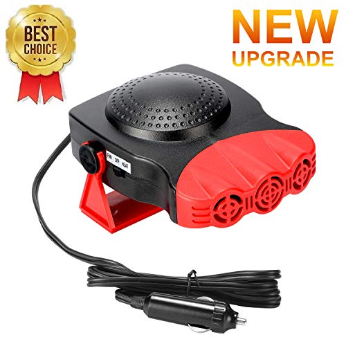 Car Heater,Car Defogger,Windshield Defroster Plugs into Cigarette Lighter,Auto Electronic Heater Fan Fast Heating Defrost 12V 150W Car Heater 2 in 1 Heating Cooling Function 3-Outlet Car Heater (Red)