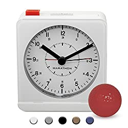 MARATHON CL030053WH Classic Silent Sweep Alarm Clock with Auto Night Light. Batteries Included