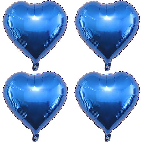 (24 pcs blue Heart Shape Foil Mylar Balloons for birthday party decorations, Wedding decorations, engagement party, celebration, holiday, show, party activities.(size:18